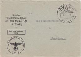 Staatsanwaltschaft Landgericht Aurich Nach Magdeburg 1937 Mit Sonderstempel - Non Classificati