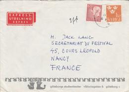 SUEDE AFFRANCHISSEMENT COMPOSE SUR LETTRE EXPRESS POUR LA FRANCE 1965 - Cartas
