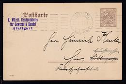 Ziffer 3 Pfg. Als Dienstpostkarte Der Centralstelle Für Gewerbe Und Handel  - Wurttemberg