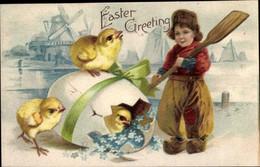 Gaufré CPA Glückwunsch Ostern, Kind In Niederländischer Tracht, Küken, Windmühlen, Vergissmeinnicht - Pasen