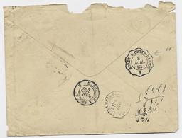 CACHET ESSAI EN ARRIVEE AMBULANT BORDx A CETTE RAPIDE 8 JUIL 1883 B LETTRE MAL OUVERTE - Spoorwegpost