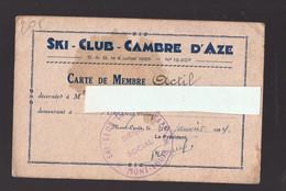 Cambre D'Aze / Mont-Louis  (66 Pyrénées Orientales) Carte De Membre Du Ski Club 1934  (PPP29338) - Unclassified