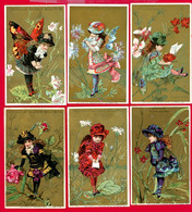 Chocolat Guérin Boutron, Série Complète 6 Chromos Lith. Vallet Minot, Fillettes, Insectes, Anthropomorphisme - Guerin Boutron