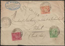 Cussy-en-Morvan : Affranchissement Tricolore Sur Devant D'enveloppe, 1899. - 1877-1920: Periodo Semi Moderno