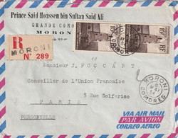 Lettre Recommandée De MORONI Adressée à Jacques FOCCART, Futur M. Françafrique Du Général - T.P. N°10 (paire) + 5 (paire - Cartas