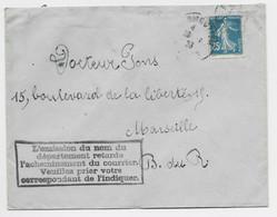 N° 140 LETTRE NOIRMOUTIER 1923 VENDEE + GRIFFE L'OSSION DU NOM DU DEPARTMENT RETARDE ACHEMINEMENT - 1906-38 Säerin, Untergrund Glatt