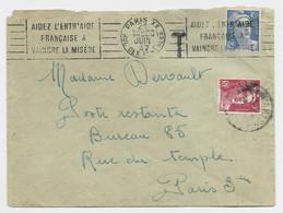 GANDON 3FR UTILISATION  COMME TAXE POSTE RESTANTE PARIS 1947 LETTRE AFFRANCHIE 4FR50 PARIS XX 21 JUIN 47 - 1945-54 Marianne Of Gandon
