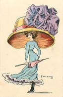 CPA Aquarellée Femme Lady Women Glamour Mode Chapeau Immense Hat Illustrateur G. MOUTON (2 Scans) - Andere Zeichner