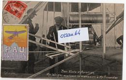 Carte-postale De Pau école D'aviation - Wright - Tissandier - Vignette Gabard - Béarn - Pau