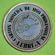NECESSITE / LEBRIJA / SEVILLA / CARTON MONEDA DE USO PROVISIONAL / 1937 - Monetary/Of Necessity