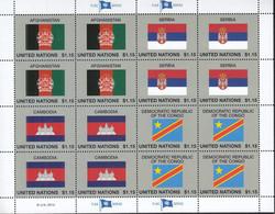 UNO NEW YORK  1400-1403, Kleinbogen, Postfrisch **, Flaggen, 2014 - Blocks & Kleinbögen