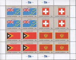 UNO NEW YORK  1041-1044, Kleinbogen, Postfrisch **, Flaggen, 2007 - Blocks & Kleinbögen