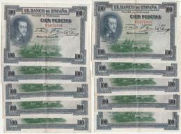 Lot De 10 Billets  ESPAGNE De 100 Pesetas De 1925  ( Neuf )  (idem Au Modèle) - 100 Pesetas