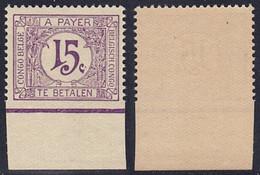 Congo Belge - Taxe : TX68** Neuf Sans Charnières + CU : Bord Inférieur Non Dentelé ! - Postage Due: Mint/hinged Stamps