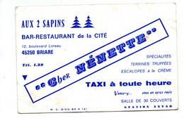 Briare Bar Restaurant Carte Publicitaire Aux 2 Sapins Chez Nénette - Publicités