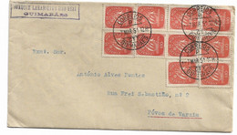 Portugal ,  1951 , Caravela 10 C , Red , Guimarães And Povoa De Varzim  Postmark , Letter Inside - Covers & Documents