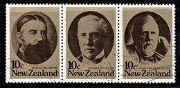 New Zealand 1979 Statesmen Set As Strip Of 3 Used - Gebraucht