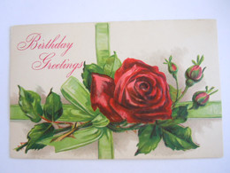 Birthday Greetings Roos Rose Relief Post Card Made For USA - Birthday