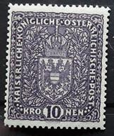 OSTERREICH AUSTRIA AUTRICHE 1916 - 1918 Armoiries,  Yvert No 161, 10 Kronen Violet ,  Neuf ** MNH TTB - Nuevos