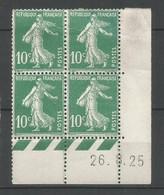 Coins Daté France Neuf *  N 159   Année 1925  Charniére En Haut Un Petit Plies - ....-1929