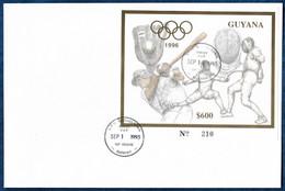 Guyana 1993 Olympics Baseball Fencing Gold S/S Or FDC Rare - Schermen