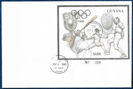 Guyana 1993 Olympics Baseball Fencing Silver S/S Argent FDC Rare - Schermen