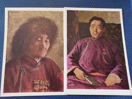 "2 PCs Lot Mongolia,  Stroganov ""Partisan, Tractor Man"" 1965 Portrait - Mongolia"