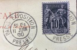 EXPOSITION UNIVERSELLE  DEL 1900 - PALAZZO DELLE NAZIONI  - ANNULLO : PARIS EXPOSITION PRESSE II JUIN 00 - Mundo