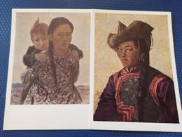 "2 PCs Lot Mongolia,  Stroganov ""Mongol Woman"" 1965 Portrait - Mongolia"
