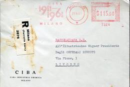 64613 Italia, Red Meter Freistempel, Ema, 1961 Milano, Ciba 1911/1961 Milano   Cover Registered - Marcofilie - EMA (Print Machine)