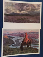 "2 PCs Lot  Mongolia,  Stroganov ""Landscape"" 1965 Horse In Art - Mongolia"