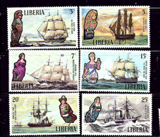 Liberia 608-13 MNH 1972 Famous Sailing Ships And Their Figureheads - Liberia
