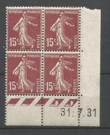 Coins Daté France Neuf *  N 189   Année 1931  Charnière En Haut - ....-1929