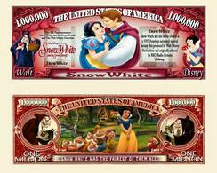 USA 1 Million Dollar Novelty Banknote 'Snow White' (Disney) - NEW - UNC & CRISP - Other - America