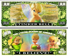 USA 1 Million Dollar Novelty Banknote 'Tinker Bell' (Peter Pan - Disney) - UNC & CRISP - Other - America