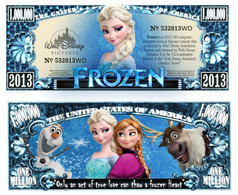 USA 1 Million Dollar Novelty Banknote 'Frozen' (Disney) - NEW - UNC & CRISP - Other - America