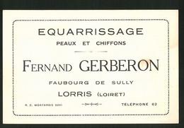 Vertreterkarte Lorris, Fernand Gerberon, Equarrissage Peaux Et Chiffons, Faubourg De Sully - Zonder Classificatie