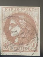 France Oblitéré, N°40B, 2c Cérès Chocolat Clair, Emission De Bordeaux, 1870 - 1870 Uitgave Van Bordeaux
