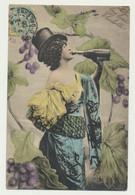 Carte Fantaisie - Bacchante - Femme Buvant à La Bouteille - Women