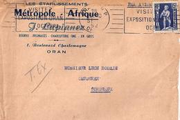 ALGERIE N° 290 SUR LETTRE DE ORAN RP/ORAN/18.9.52 POUR FRANCE + OBL. MEC. - Brieven En Documenten