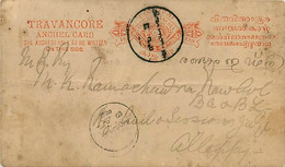 Feudatory Indian State Travancore  4  Postal Cards  C 1 (Deschel)  Various Sizes  Cancelled - Andere