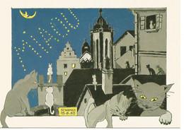Chat   Dessin  Illustration Schangi Panorama Noctune De Colmar - Gatti