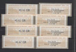 8 ATMs, LISA1, 4 VALEURS  Et LES RECUS. 22/03/2002, NIMES. SALON PHILAT. DE PRINTEMPS. LE PONT DU GARD. - 1999-2009 Viñetas De Franqueo Illustradas