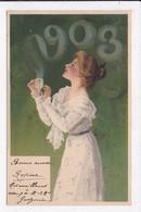 CP NOUVEL AN 1908 écrit Avec Volutes De Fumée Femme - New Year