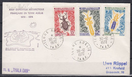 TAAF 1972 Insects 3v Cover Ca Terre Adelie 30/12/1972 Ca Thala Dan (52329) - Cartas