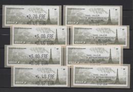TOUR EIFFEL. ATM, LISA1, 4 VALEURS ECOPLI, LETTRE FRANCE, EUROPE, MONDE, SANS MENTION, 8/11/2001. 55ème SALON D'AUTOMNE. - 1999-2009 Viñetas De Franqueo Illustradas