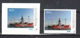 """Vuurtoren, Lighthouse : Nederland  2021 Lichtschip  """"Noord Hinder"""" Te Hellevoetsluis,  2 X Normale Zegel En Rolzegel - Lighthouses"""