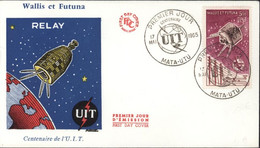 Enveloppe Premier Jour D'émission FDC First Day Cover Wallis Et Futuna Centenaire Relay U.I.T UIT CAD Illustré 17 5 1965 - FDC