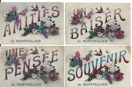 34 - Montpellier 4 Cartes  Souvenir Pensée Amitiés Baiser ( Defauts Plis Et Tache ) - Montpellier