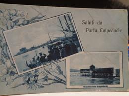 Cartolina Saluti Da Porto Empedocle Prov Agrigento ,porto Stabilimento  Anni 20 - Agrigento